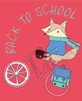 Mão desenhada guaxinim bonito andando de bicicleta ilustração vetor