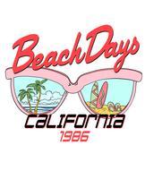 Mão desenhada óculos de sol com cena de praia na ilustração de lentes vetor
