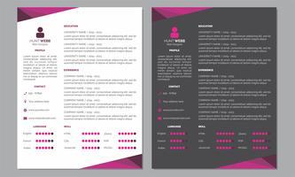 Curriculum Vitae Resume Cor rosa escura e limpa vetor