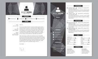 CV Resume Dark Side e Cover Dark Header vetor