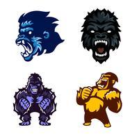 Gorila, macaco, macaco, conjunto de mascote de logotipo vetor