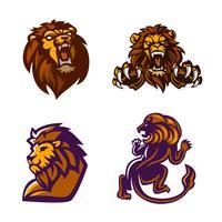 Leão, conjunto de logotipo da mascote vetor