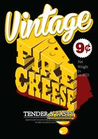 Poster vintage de queijo vetor