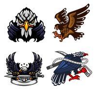 Águia, conjunto de logotipo mascote vetor