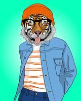 Mão desenhada tigre legal com língua de ilustração vetor