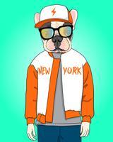 Mão desenhada cachorro legal com ilustração de chapéu e jaqueta