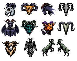 Conjunto de design de etiqueta de cabra vetor