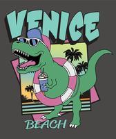 Mão desenhada ilustração de dinossauro de verão vetor