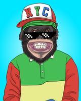 Mão desenhada macaco legal com ilustração de chapéu de Nova York vetor