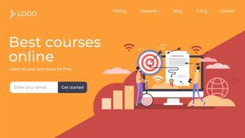 Design de modelo de página de destino de diploma de marketing vetor