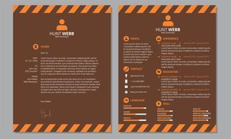Curriculum Vitae Resume Cover Laranja Chocolate Chocolate Cabeçalho Escuro Rodapé vetor