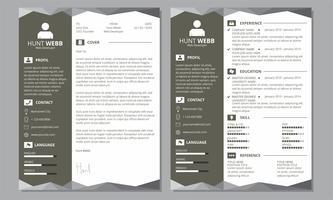 Curriculum Vitae Resume Cover Branco Preto Cabeçalho Rodapé vetor