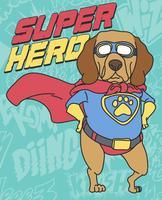 Ilustração desenhada mão legal super herói cachorro vetor