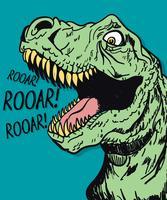 Mão desenhada dinossauro legal rugindo ilustração vetor