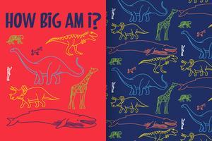 Quão grande sou eu dinossauro desenhado à mão com conjunto de padrões vetor