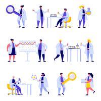 Conjunto de caracteres de equipe de laboratório de ciência de pessoas plana