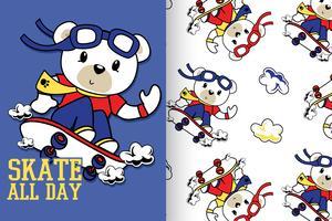 Skate o dia inteiro mão desenhada urso padrão vetor