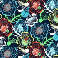Mão desenhada negrito colorido grande impressão padrão floral vetor