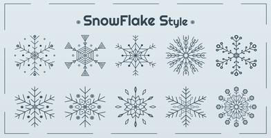 Conjunto de estilos de floco de neve vetor