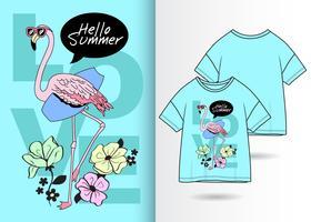 design de t-shirt flamingo vetor