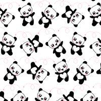 Padrão de mão desenhada panda feliz vetor