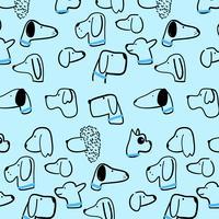 Mão desenhada retrô azul e preto padrão de cabeça de cachorro vetor