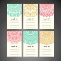 Conjunto de cartão de nota de mandala