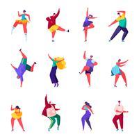 Conjunto de pessoas planas dança em uma festa de caracteres