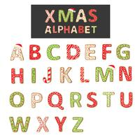 Alfabeto de biscoito de Natal de vetor isolado no branco