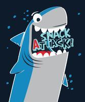 Tubarão de ataque de lanche desenhado à mão vetor