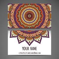 Cartão de visita de mandala desenhada de mão