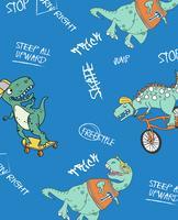 Padrão de dinossauro de skate vetor