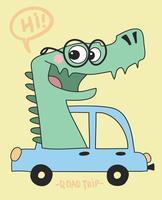 Dinossauro de viagem por estrada vetor