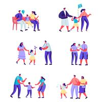 Conjunto de momentos felizes de pessoas planas de caracteres familiares