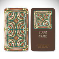Cartões de visita em estilo étnico. Elementos decorativos vintage. vetor