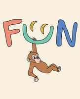 Mão desenhada macaco divertido vetor