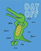 Dia de folga Crocodilo vetor