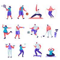 Conjunto de caracteres de atividades esportivas pessoas plana