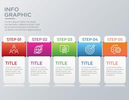 Infográfico de negócios modernos com cinco etapas
