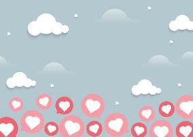 Voando coração bate-papo luz de fundo