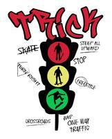Mão desenhada skate semáforo vetor