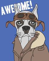 Mão desenhada ilustração de cão-piloto legal vetor