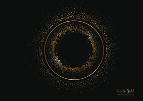 fundo de forma de círculo com glitter dourado vetor