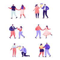 Conjunto de pessoas planas em caracteres de um encontro romântico vetor