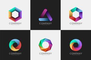 conjunto de logotipos modernos abstratos vetor