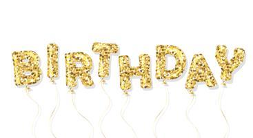 Inscrição de balão de glitter dourados de aniversário