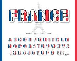 Fonte dos desenhos animados da França vetor