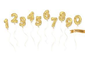 Conjunto de números de glitter dourados de balão