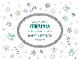 Feliz Natal e ano novo modelo de cartão vetor