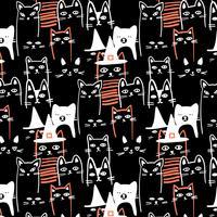 Mão desenhada contorno branco halloween gatos pretos padrão vetor
